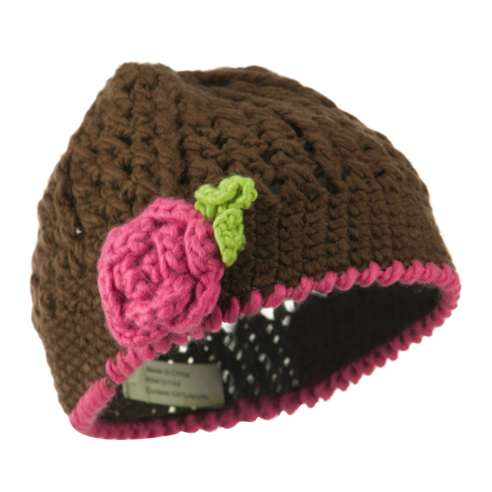 Girl's Flower and Leaf Knit Cap - Brown - Hats and Caps Online Shop - Hip Head Gear