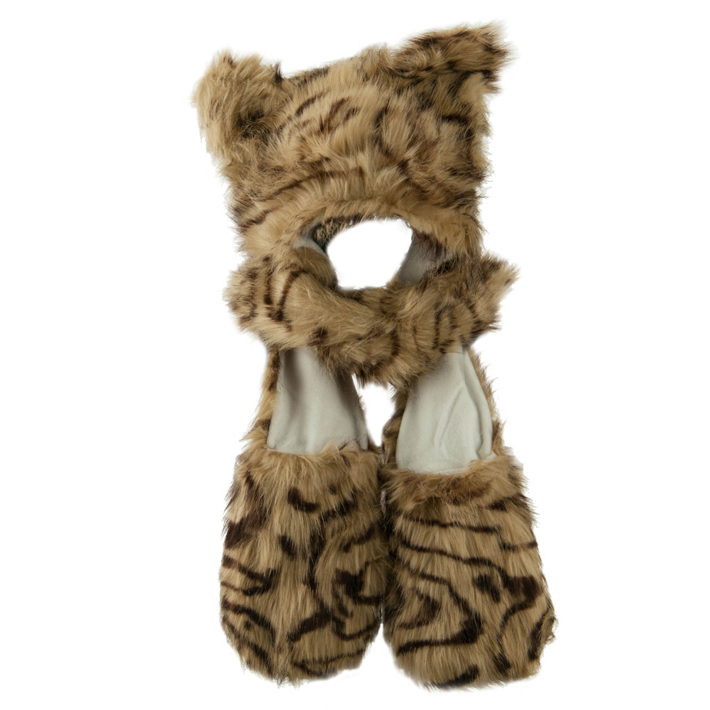 Long Furry Animal Ear Hat with Paws - Tiger - Hats and Caps Online Shop - Hip Head Gear