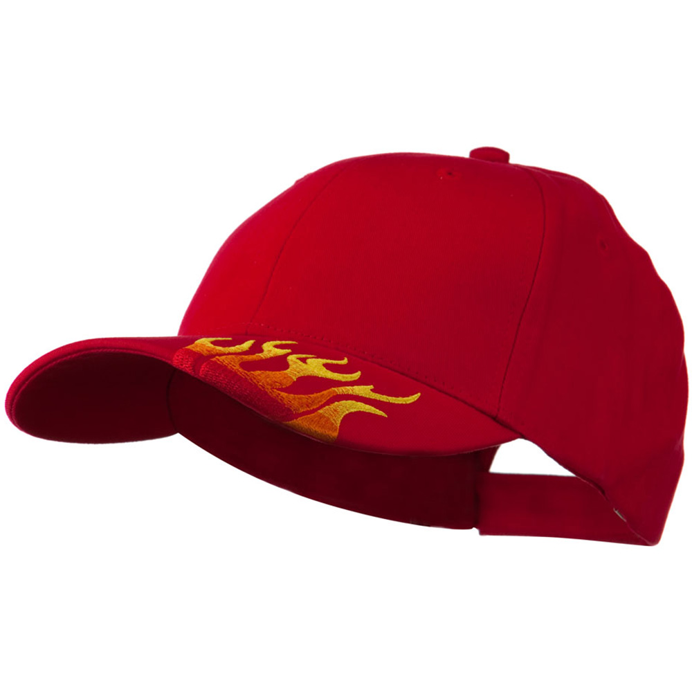 Brushed Cotton Embroidered Flame Logo Cap - Red - Hats and Caps Online Shop - Hip Head Gear