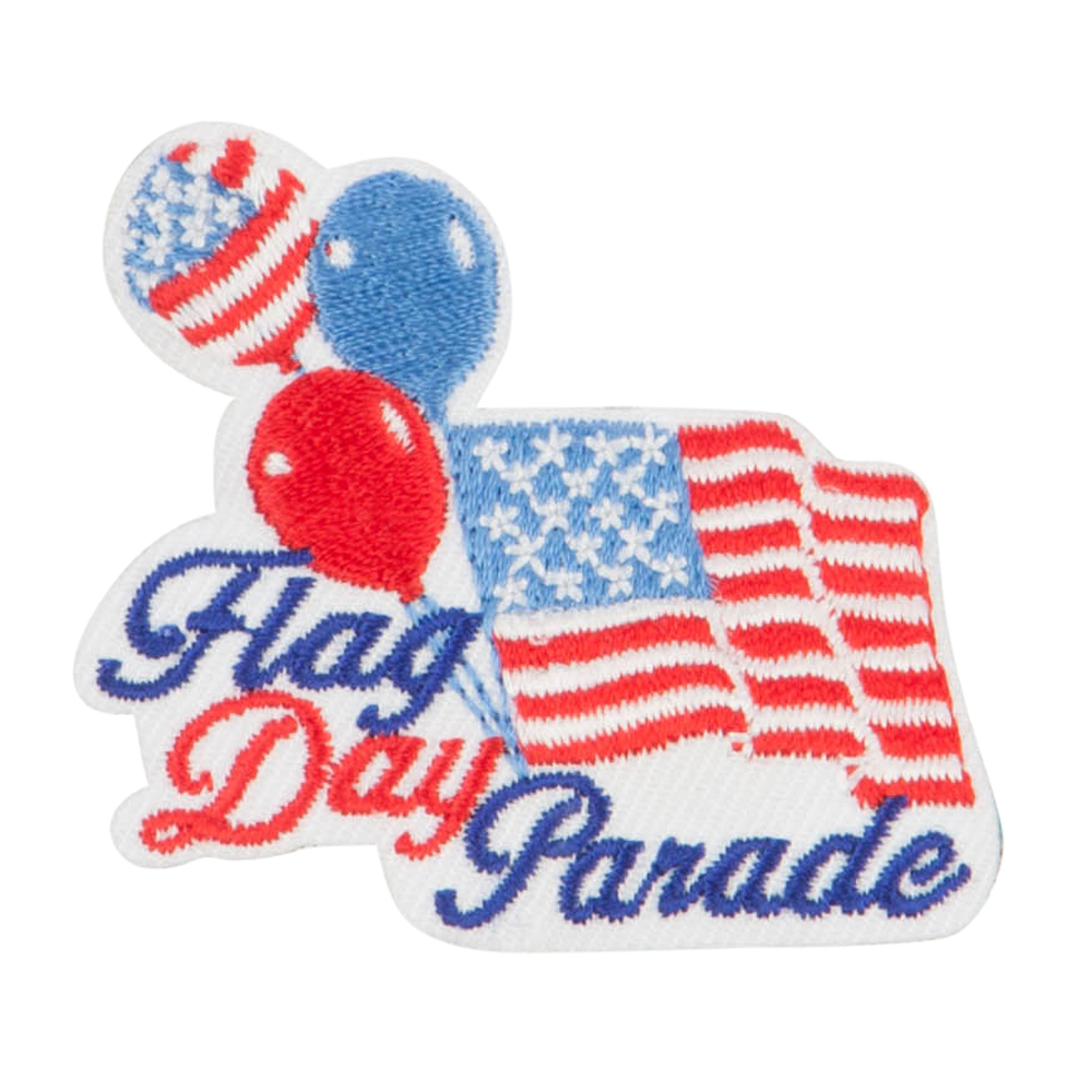 US Flag Day Embroidered Patches - White Blue