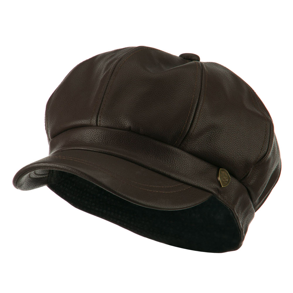 Faux Leather Spitfire Hat - Brown - Hats and Caps Online Shop - Hip Head Gear