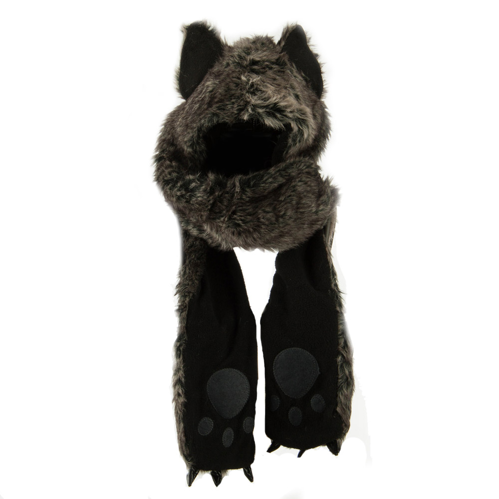Long Furry Animal Ear Hat with Paws - Dark Grey Husky - Hats and Caps Online Shop - Hip Head Gear