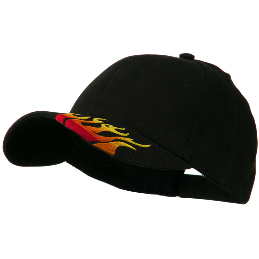 Brushed Cotton Embroidered Flame Logo Cap - Black - Hats and Caps Online Shop - Hip Head Gear