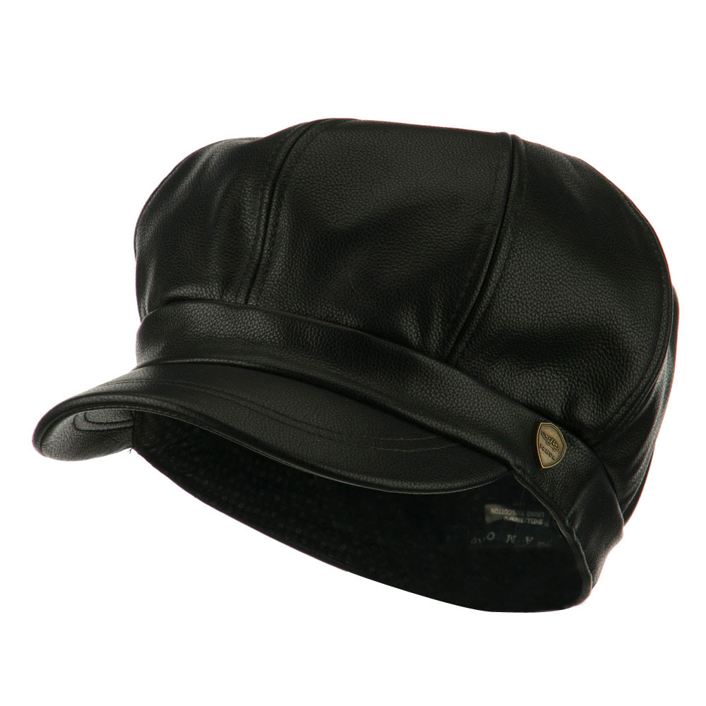 Faux Leather Spitfire Hat - Black - Hats and Caps Online Shop - Hip Head Gear