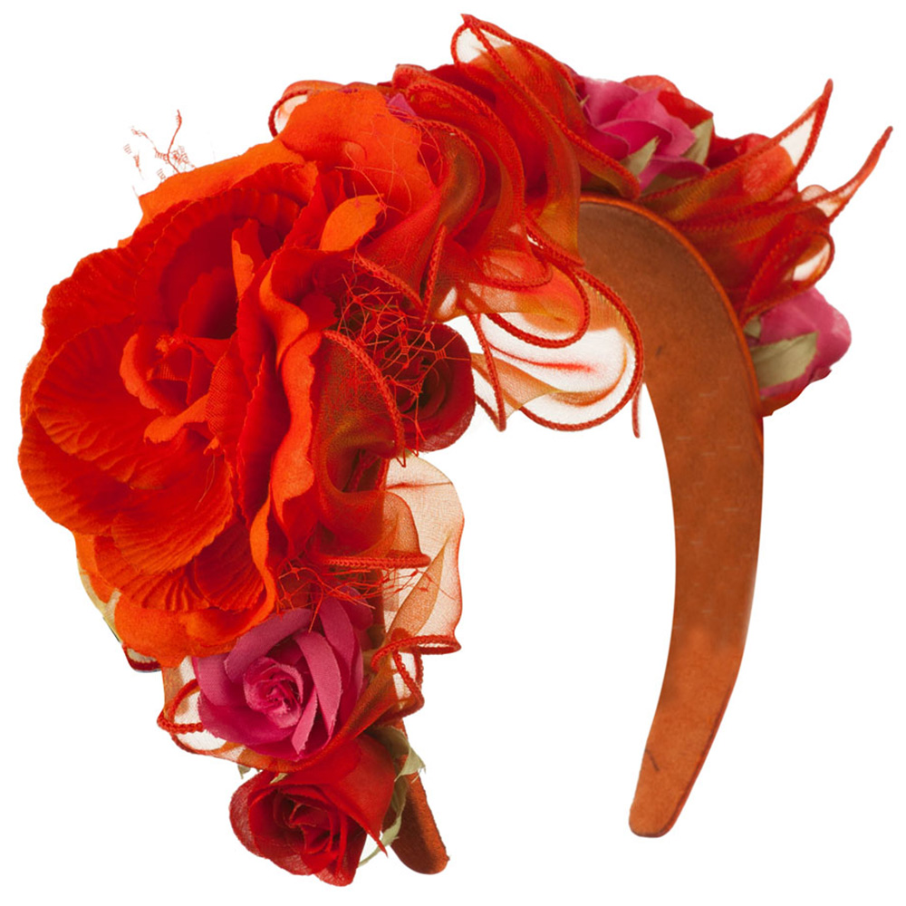 Flower Fascinator - Orange - Hats and Caps Online Shop - Hip Head Gear