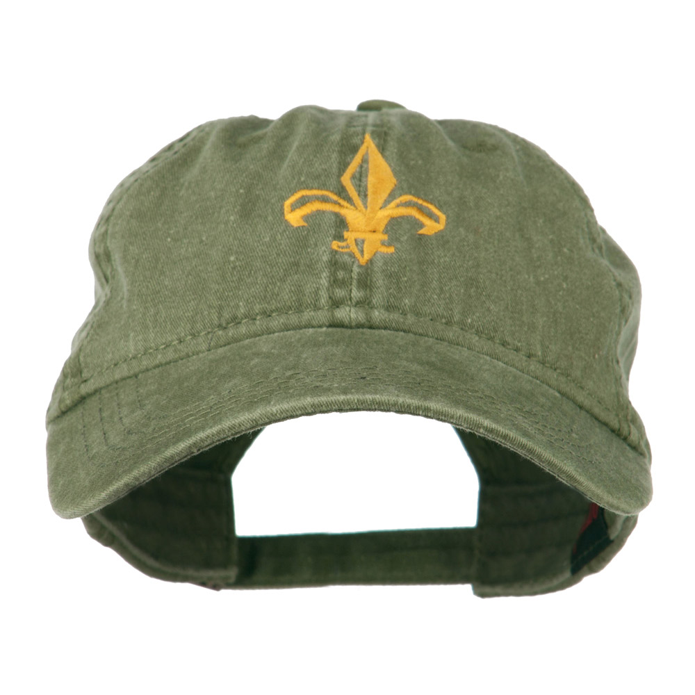 Fleur de lis Embroidered Cap - Olive - Hats and Caps Online Shop - Hip Head Gear