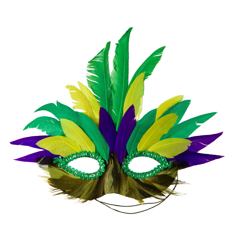 Feather Mardi Gras Mask - Green Yellow Purple - Hats and Caps Online Shop - Hip Head Gear