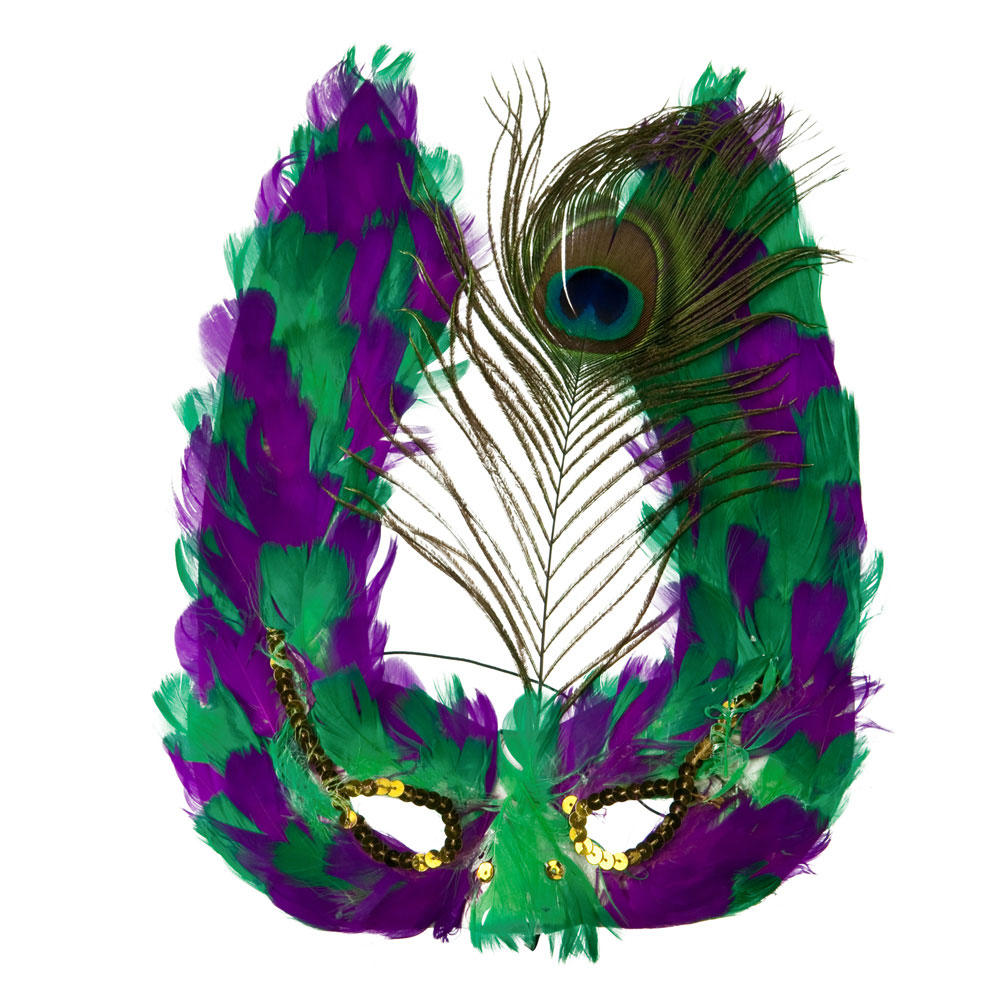 Feather Mardi Gras Mask - Green Purple - Hats and Caps Online Shop - Hip Head Gear