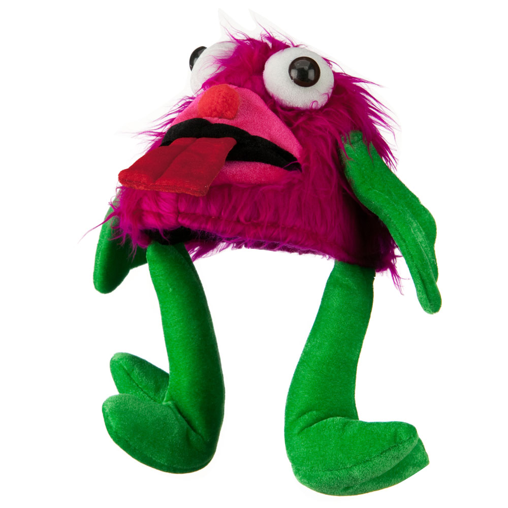 Furry Monster Hat - Hot Pink Green - Hats and Caps Online Shop - Hip Head Gear