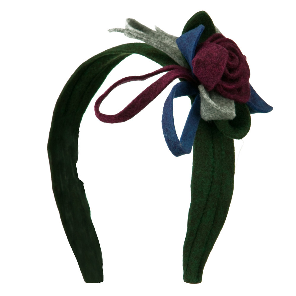 Felt Multicolor Headband with Flower - Green - Hats and Caps Online Shop - Hip Head Gear