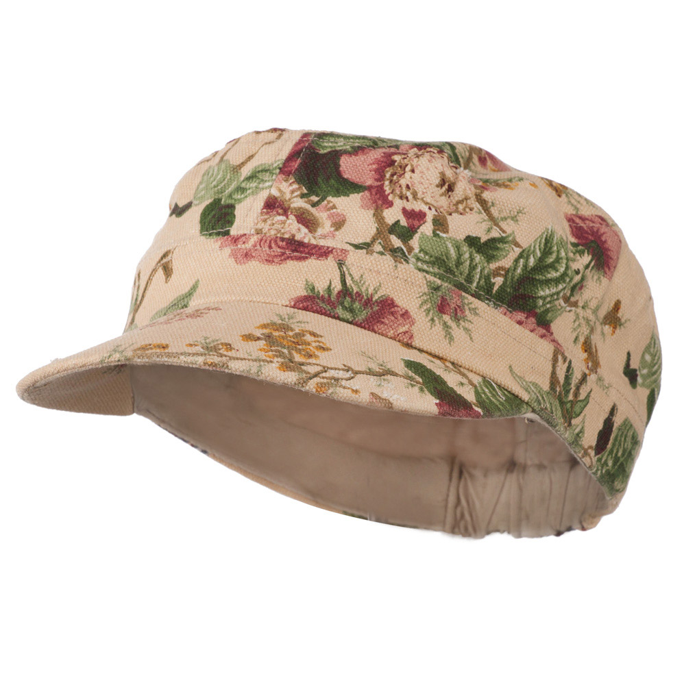 Flower Print Military Cap - Mauve - Hats and Caps Online Shop - Hip Head Gear