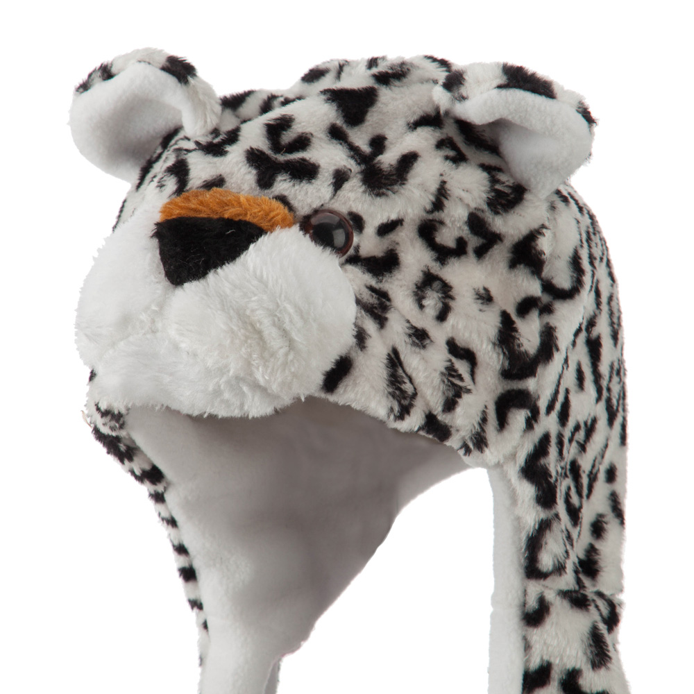 Youth Fleece ML Animal Hat - White Leopard - Hats and Caps Online Shop - Hip Head Gear