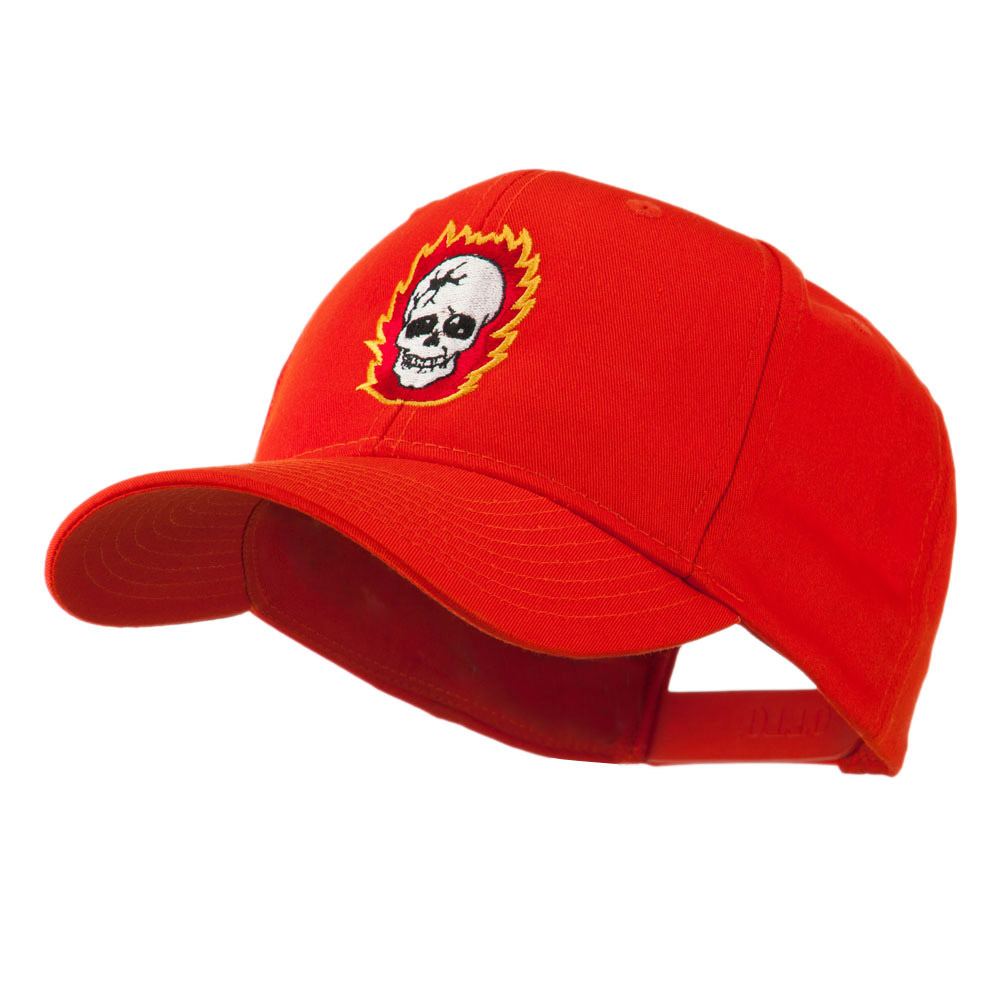 Halloween Skull with Flames Embroidered Cap - Orange - Hats and Caps Online Shop - Hip Head Gear