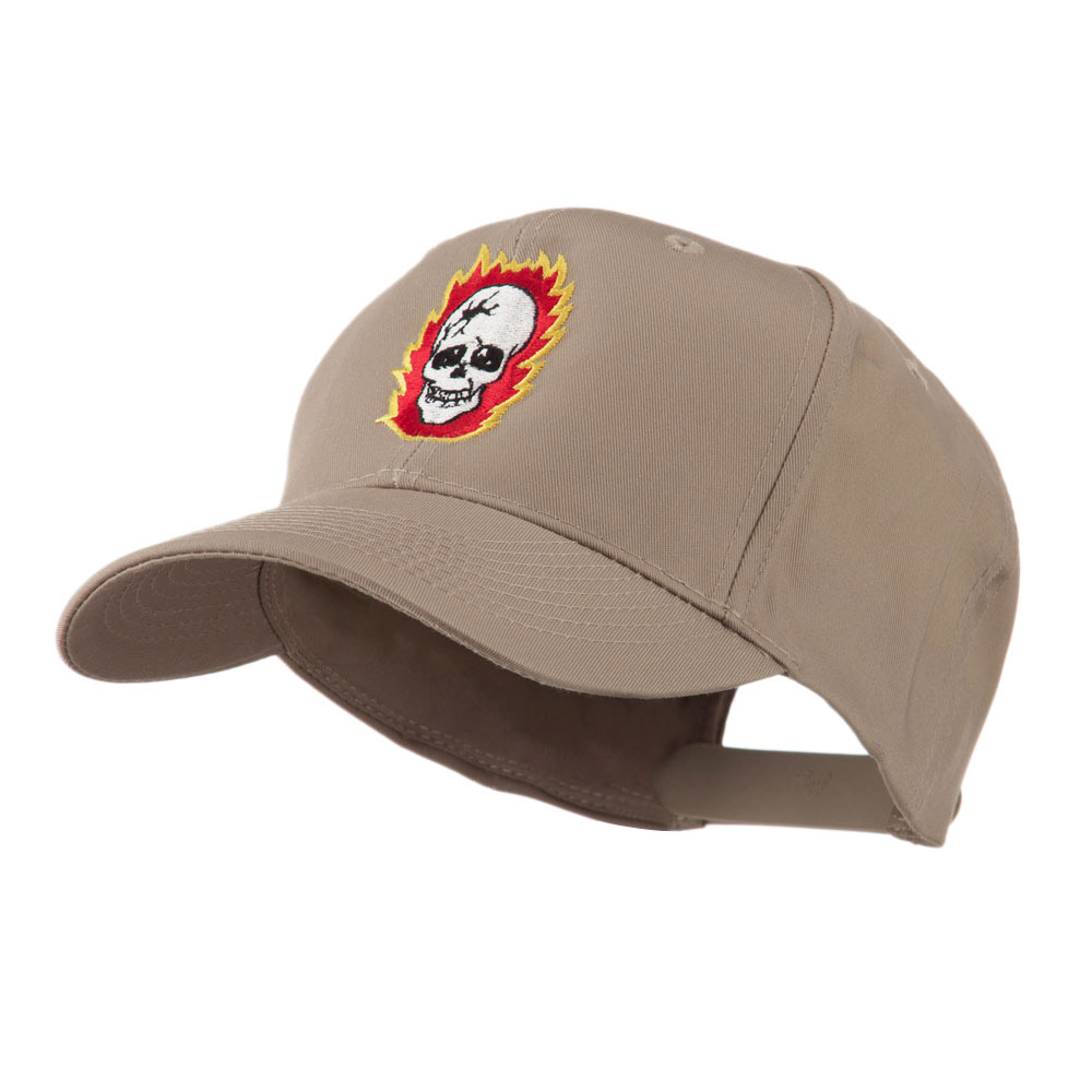 Halloween Skull with Flames Embroidered Cap - Khaki - Hats and Caps Online Shop - Hip Head Gear