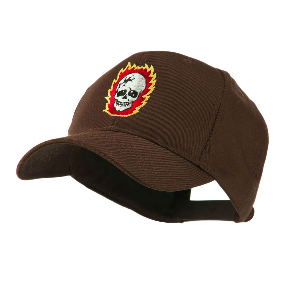 Halloween Skull with Flames Embroidered Cap - Brown - Hats and Caps Online Shop - Hip Head Gear