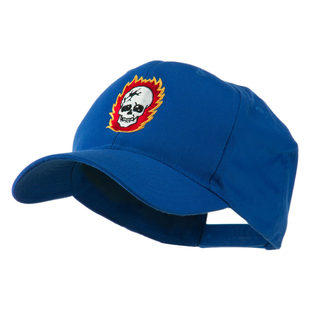 Halloween Skull with Flames Embroidered Cap - Royal - Hats and Caps Online Shop - Hip Head Gear