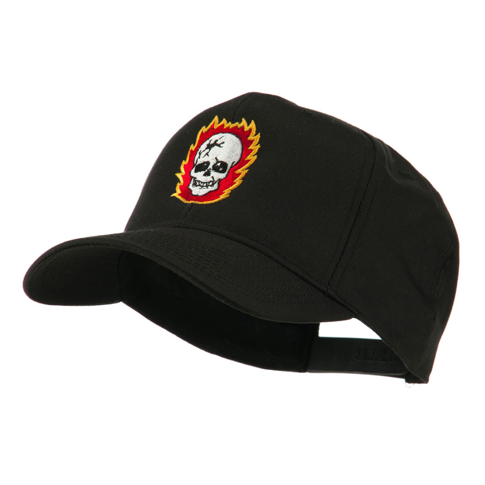 Halloween Skull with Flames Embroidered Cap - Black - Hats and Caps Online Shop - Hip Head Gear