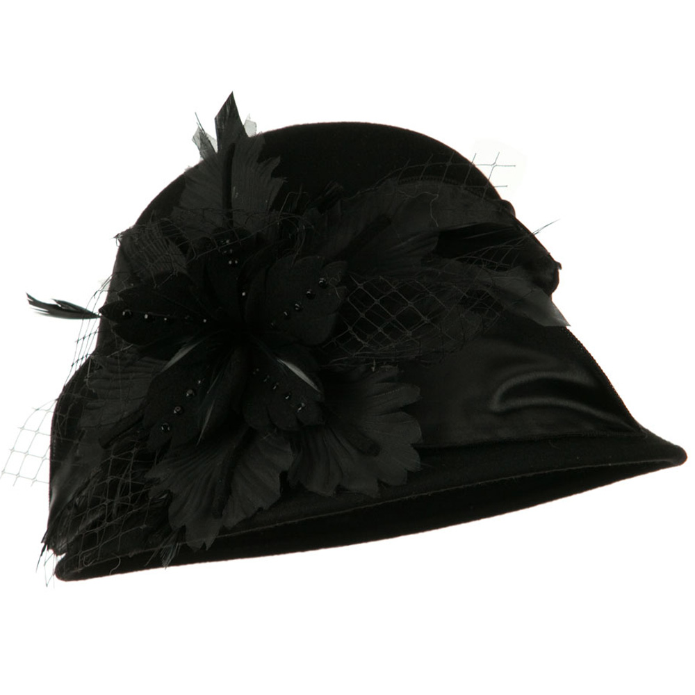 Flower Net Ribbon Cloche Wool Felt Hat - Black - Hats and Caps Online Shop - Hip Head Gear
