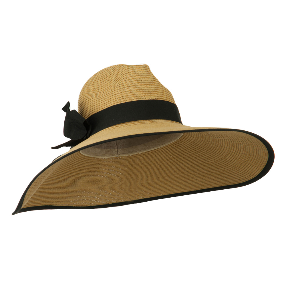 UPF 50+ Fedora Crown 6 Inch Brim Hat - Tan Black - Hats and Caps Online Shop - Hip Head Gear