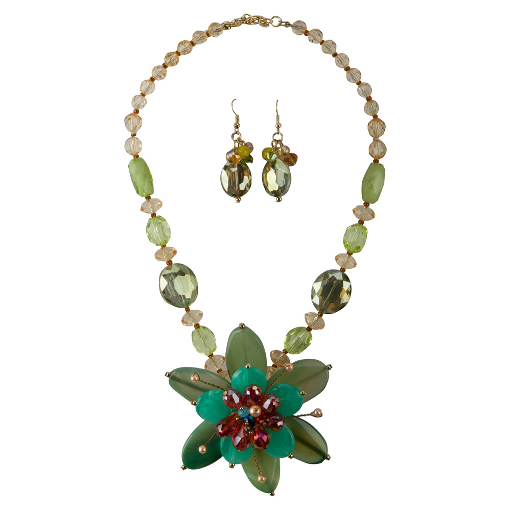 Flower Necklace and Earring Set - Green Flower