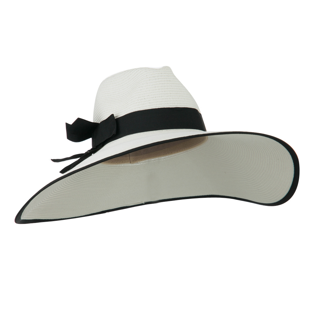 UPF 50+ Fedora Crown 6 Inch Brim Hat - White Black - Hats and Caps Online Shop - Hip Head Gear