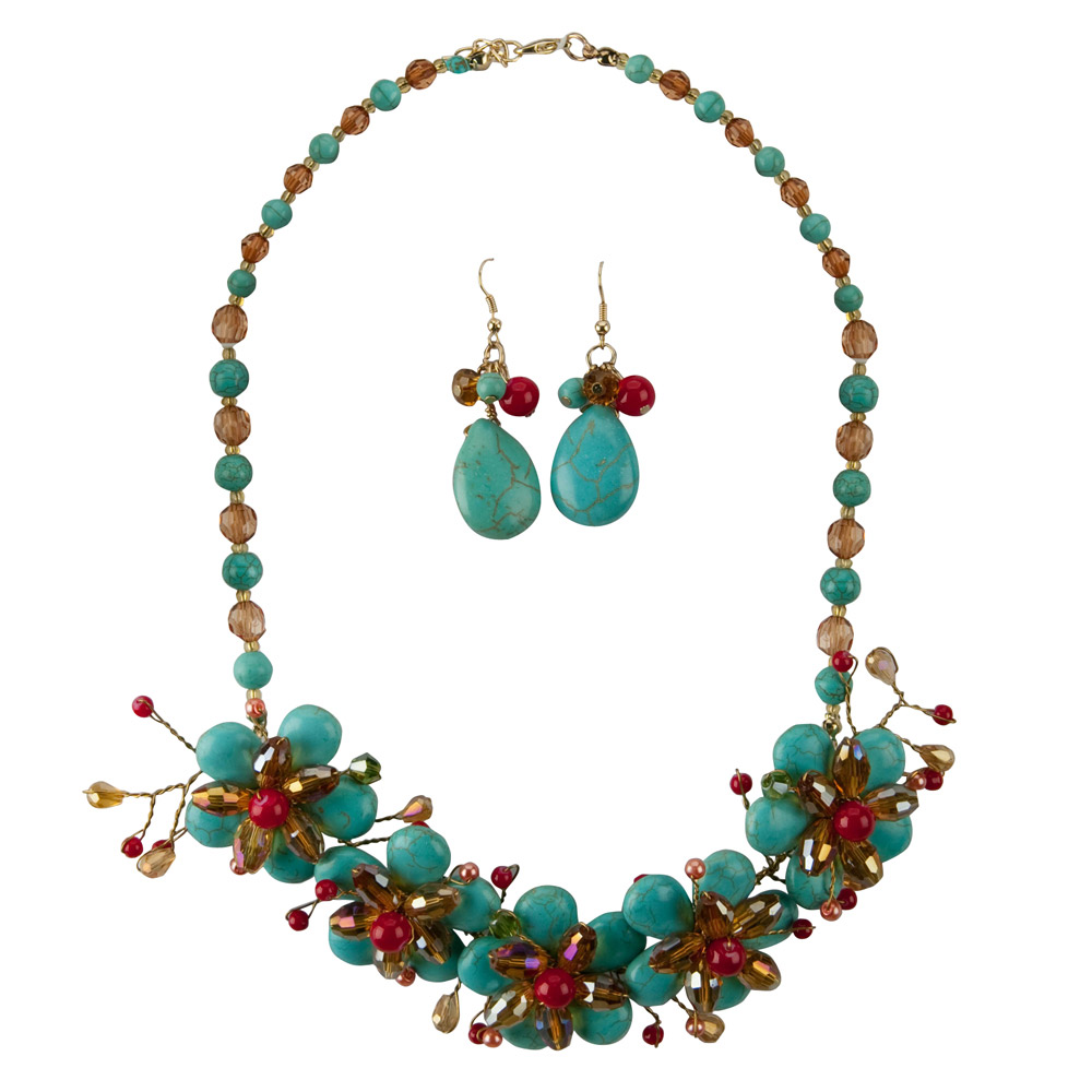 Flower Necklace and Earring Set - Turq Flower