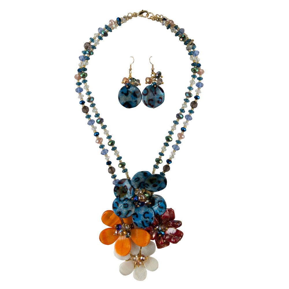 Flower Necklace and Earring Set - Flower Cluster