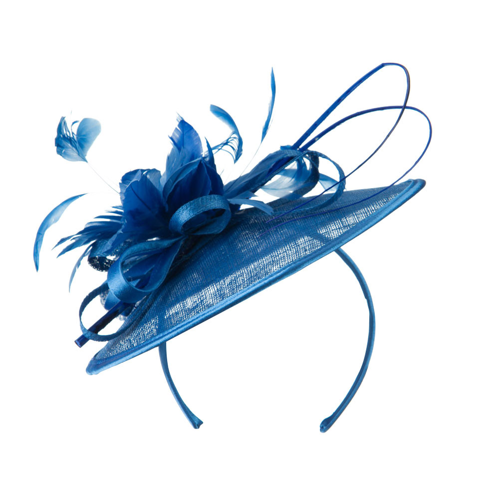Feather Flower Accent Fascinator - Blue - Hats and Caps Online Shop - Hip Head Gear