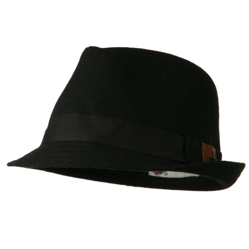 Fedora Hat with PU Patch - Black - Hats and Caps Online Shop - Hip Head Gear