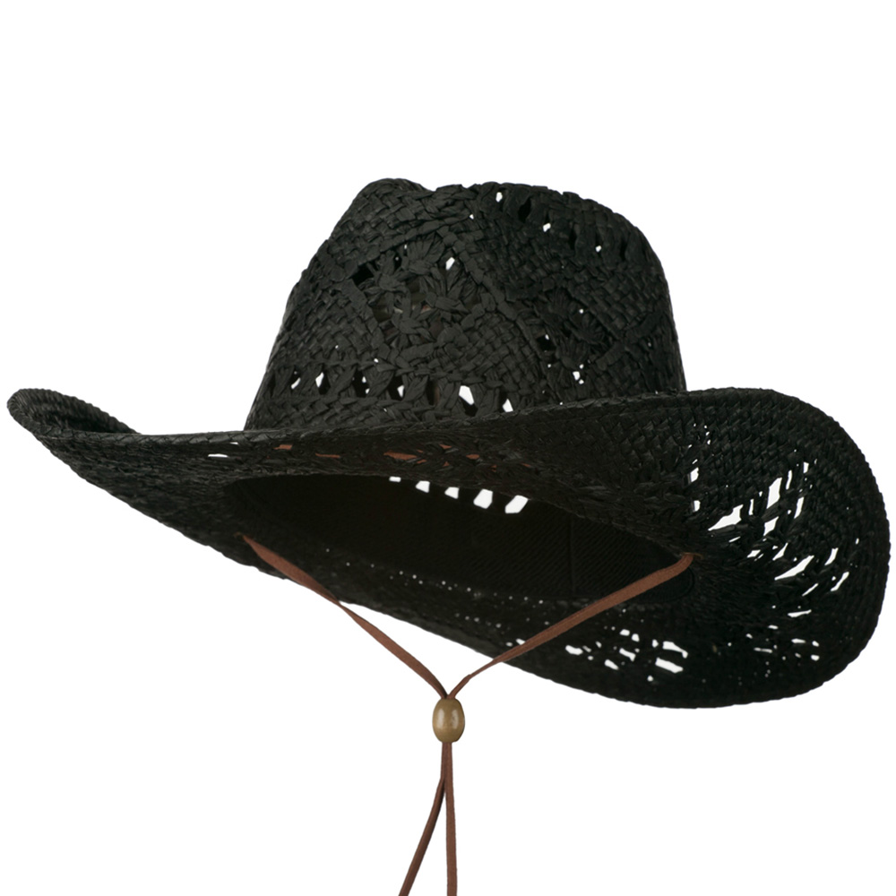 Flat Paper Leather Band Cowboy Hat - Black - Hats and Caps Online Shop - Hip Head Gear