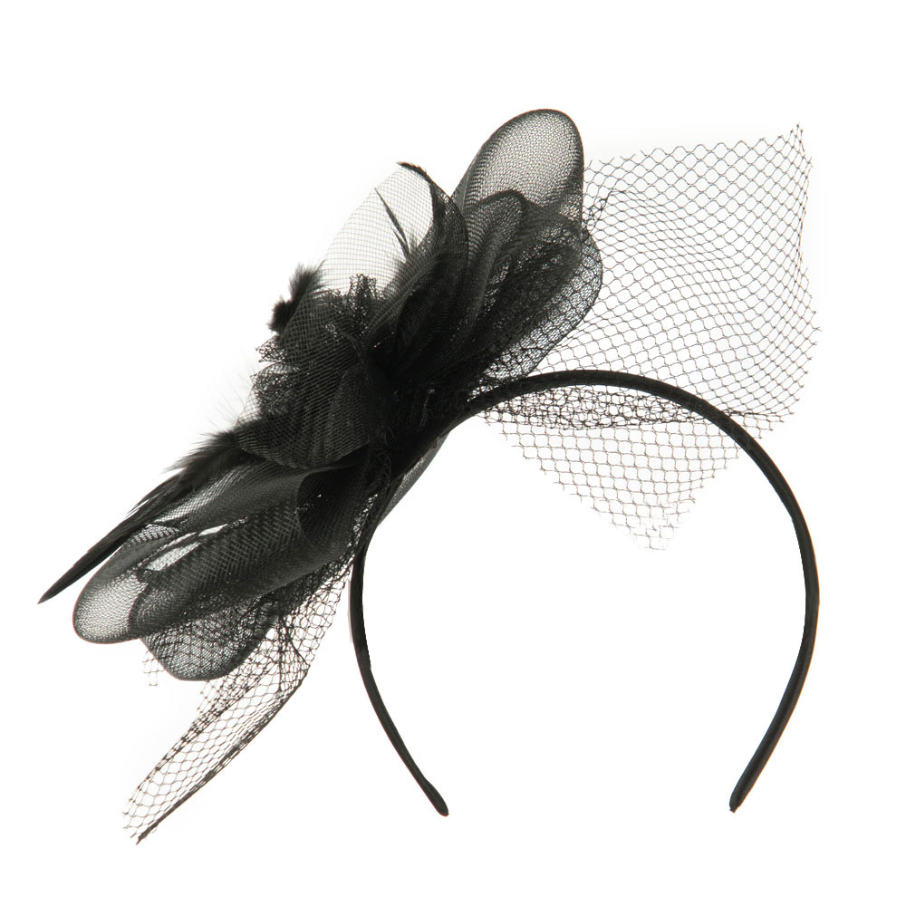 Pinwheel Fascinator with Feather and Netting Design - Black - Hats and Caps Online Shop - Hip Head Gear