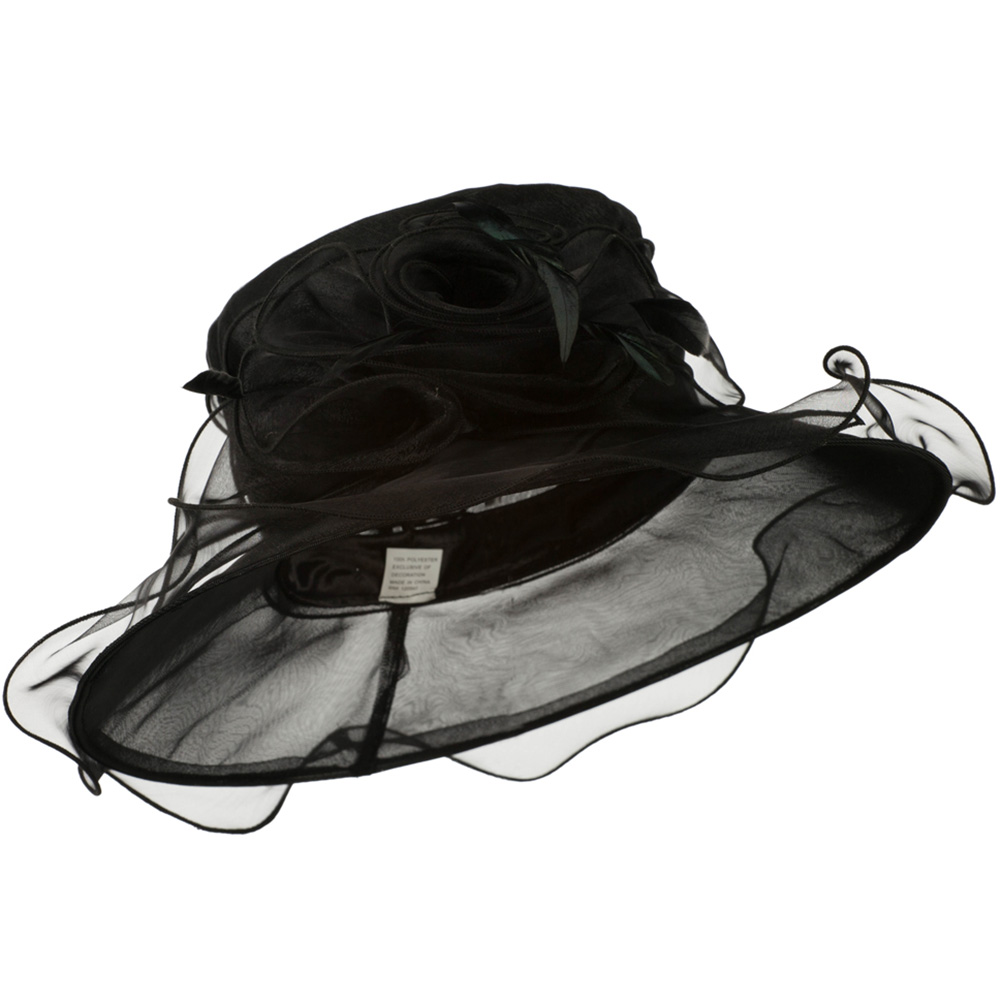 Fancy Polyester Organza Dress Hat with Ruffle Edge - Black