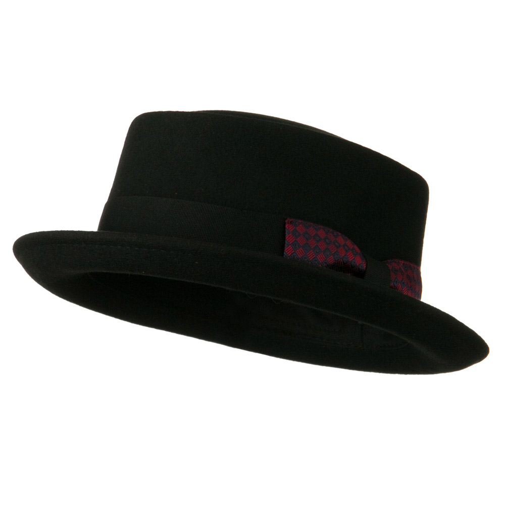 Man's Grosgrain Band Gambler Felt Porkpie - Black - Hats and Caps Online Shop - Hip Head Gear