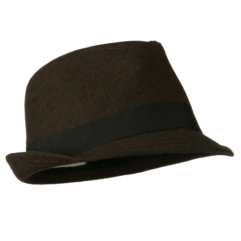 Fedora Hat with PU Patch - Brown - Hats and Caps Online Shop - Hip Head Gear