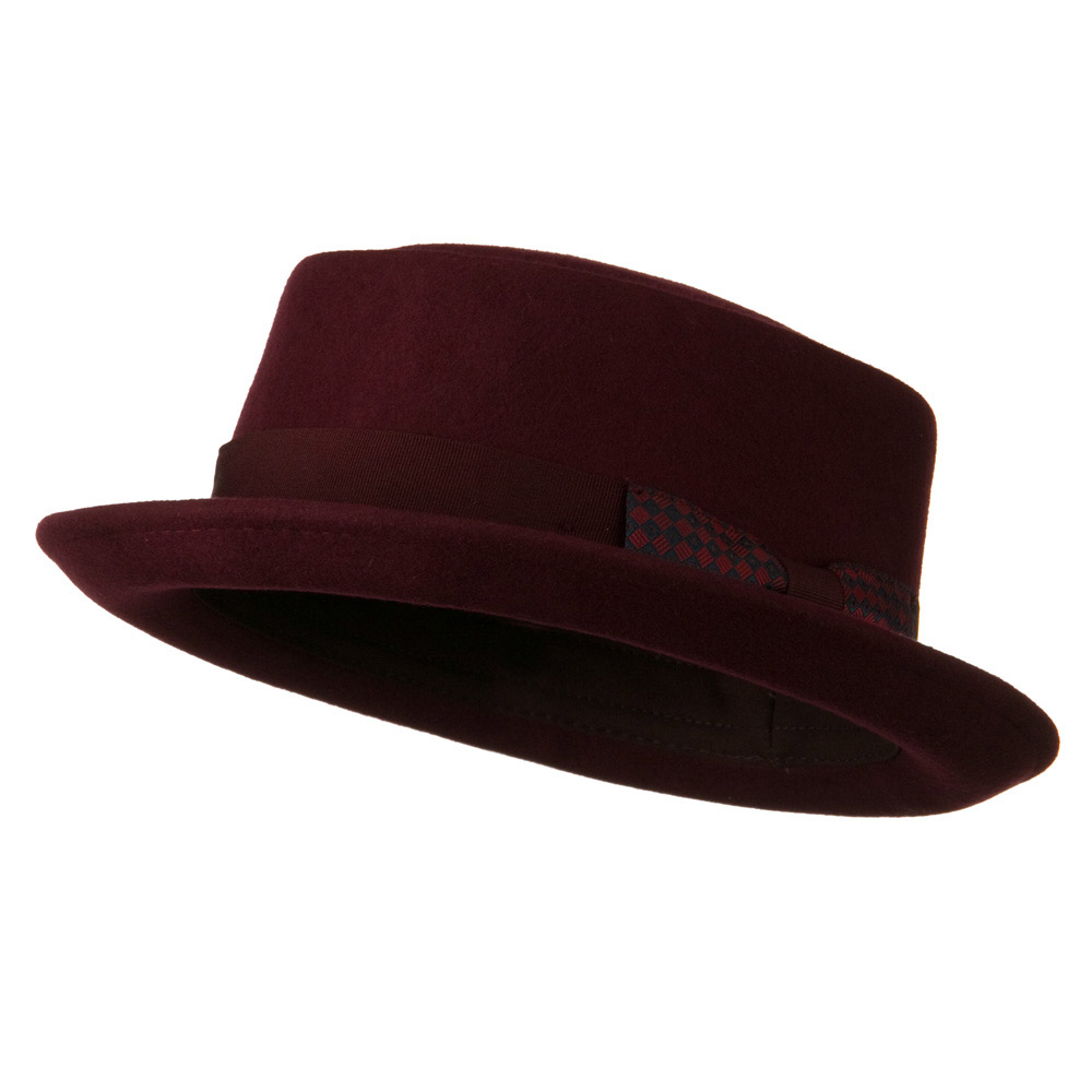Man's Grosgrain Band Gambler Felt Porkpie - Burgundy - Hats and Caps Online Shop - Hip Head Gear