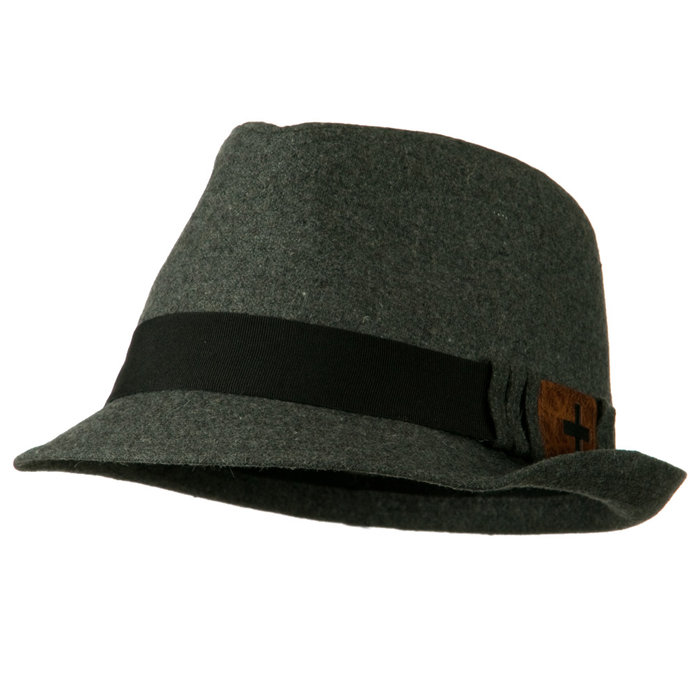 Fedora Hat with PU Patch - Grey - Hats and Caps Online Shop - Hip Head Gear