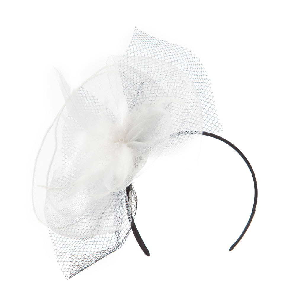 Pinwheel Fascinator with Feather and Netting Design - White - Hats and Caps Online Shop - Hip Head Gear