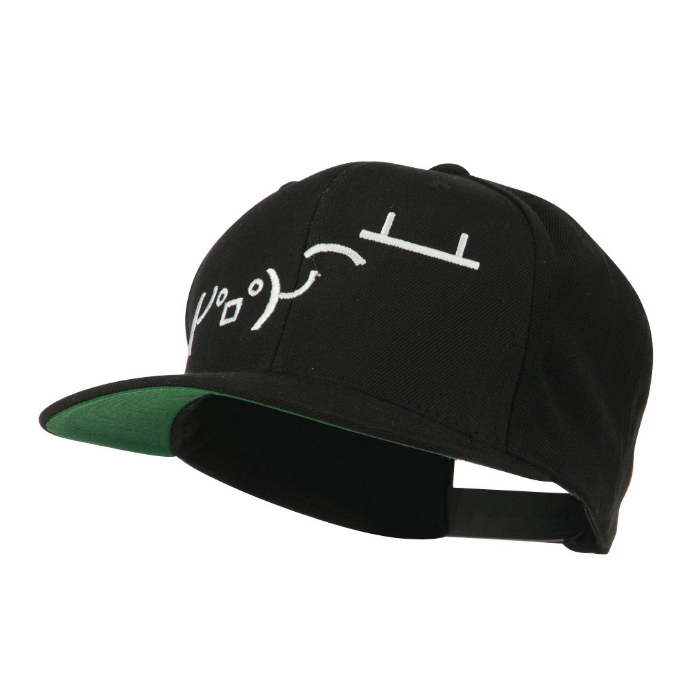 Flipping Table Text Emoticon Embroidered Snapback Cap - Black - Hats and Caps Online Shop - Hip Head Gear