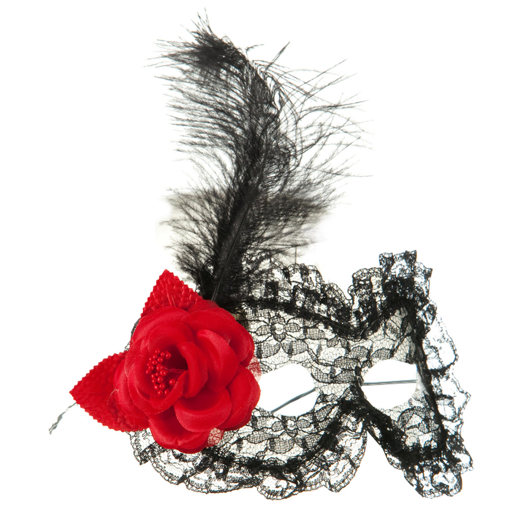 Flower Lace Mask with Feather - Black Red - Hats and Caps Online Shop - Hip Head Gear