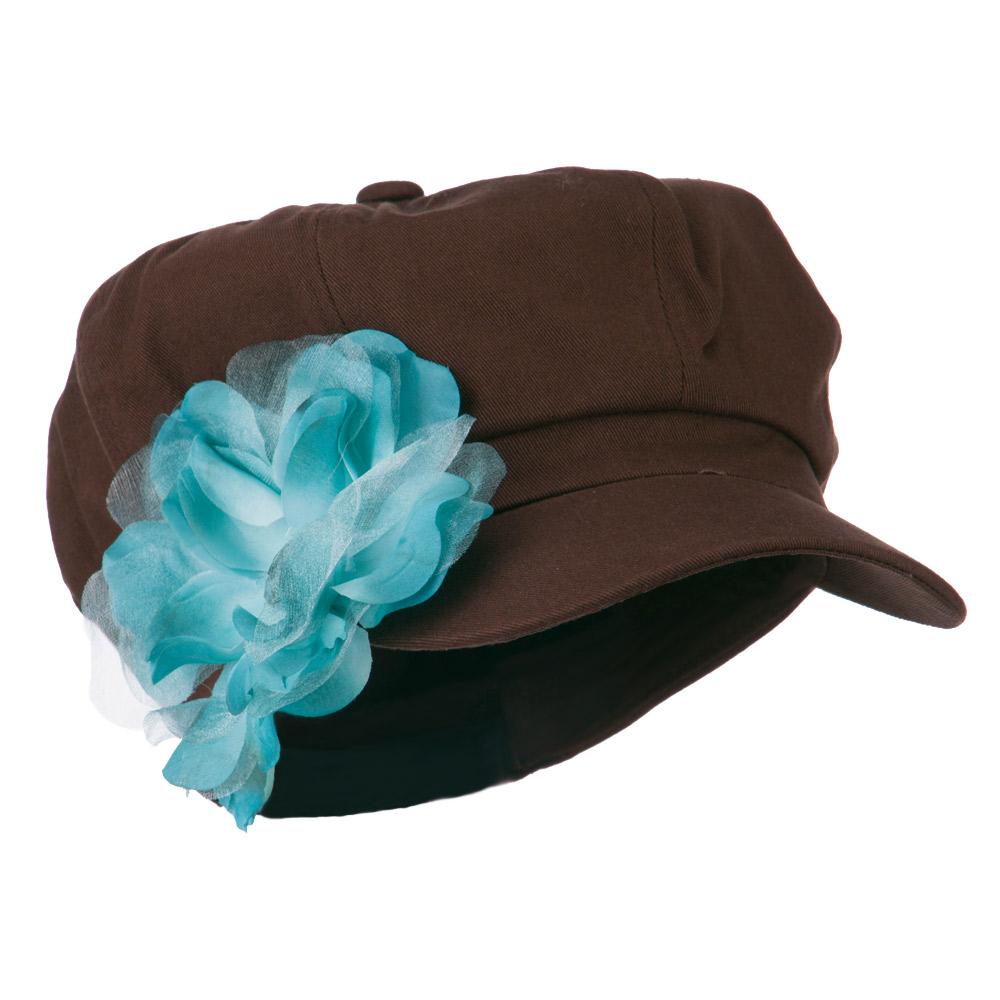 Flower Ribbon Trim Newsboy Cap - Brown - Hats and Caps Online Shop - Hip Head Gear