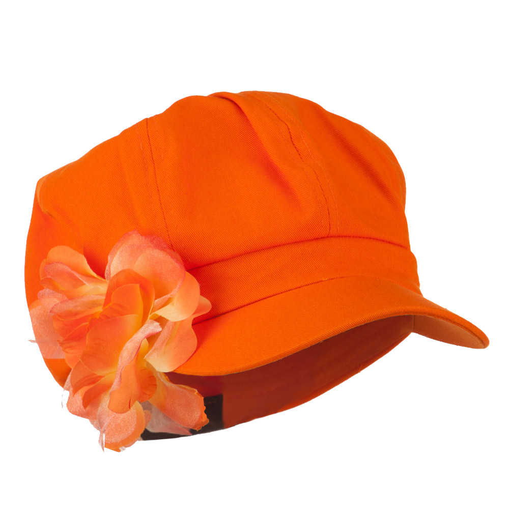 Flower Ribbon Trim Newsboy Cap - Orange - Hats and Caps Online Shop - Hip Head Gear