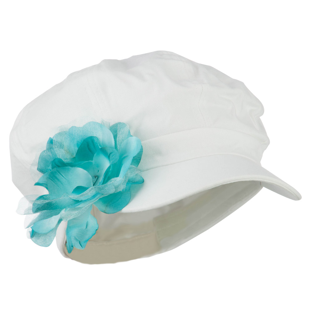 Flower Ribbon Trim Newsboy Cap - Turquoise - Hats and Caps Online Shop - Hip Head Gear