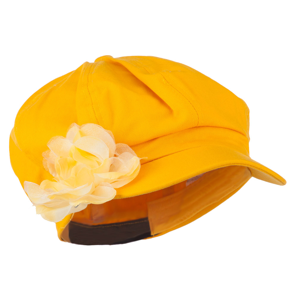 Flower Ribbon Trim Newsboy Cap - Yellow - Hats and Caps Online Shop - Hip Head Gear
