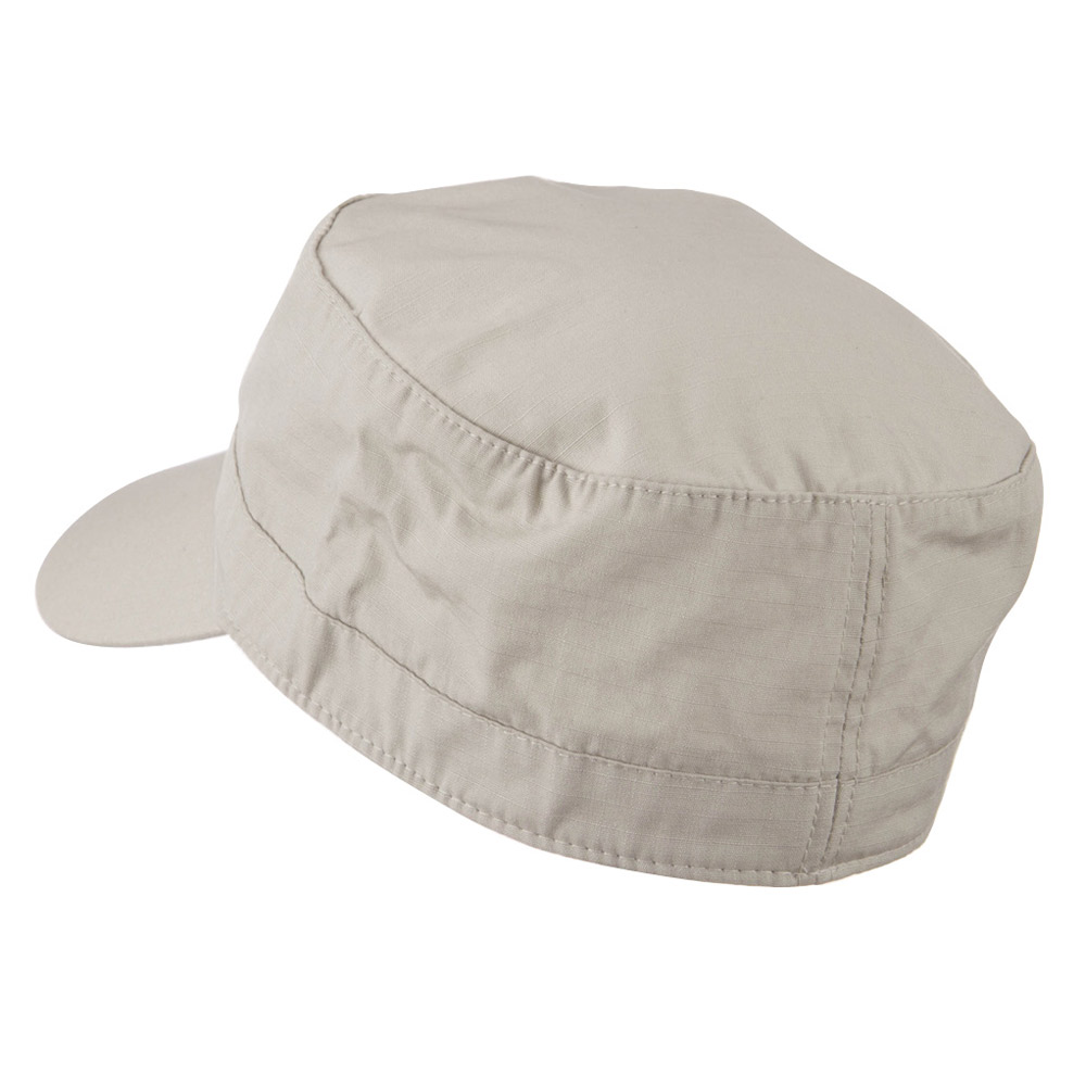 Fitted Cotton Ripstop Army Cap-Stone - Hats and Caps Online Shop - Hip Head Gear