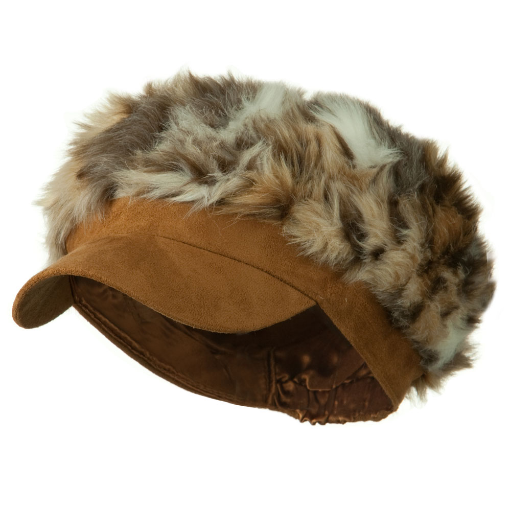 Animal Print Fur Newsboy and Scarf Set - Brown Mixed Animal - Hats and Caps Online Shop - Hip Head Gear