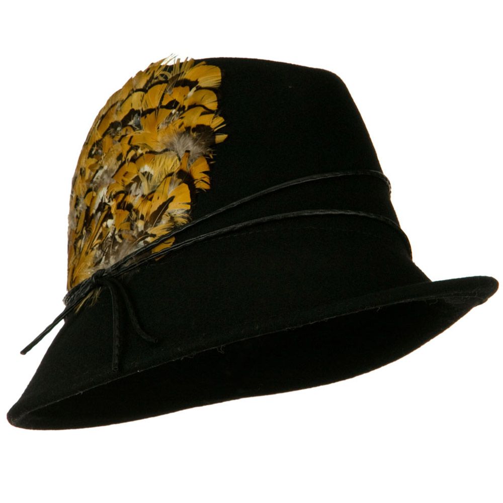 Feather and String Band Wool Felt Fedora Hat - Black - Hats and Caps Online Shop - Hip Head Gear