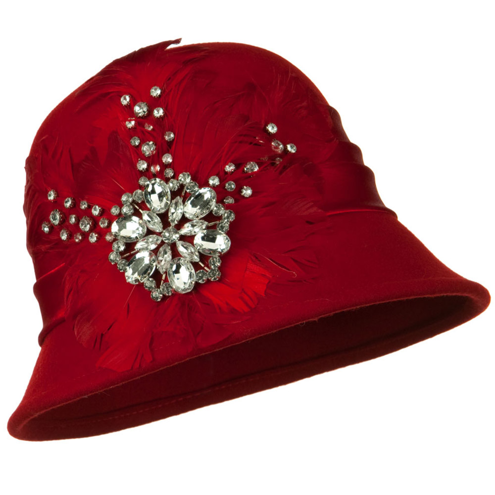 Wool Felt Cloche with Feathers Stones and Satin Band - Red - Hats and Caps Online Shop - Hip Head Gear