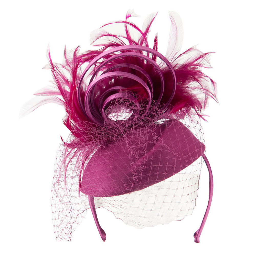 Wool Felt Fascinator with Feathers and Satin Loops - Berry - Hats and Caps Online Shop - Hip Head Gear
