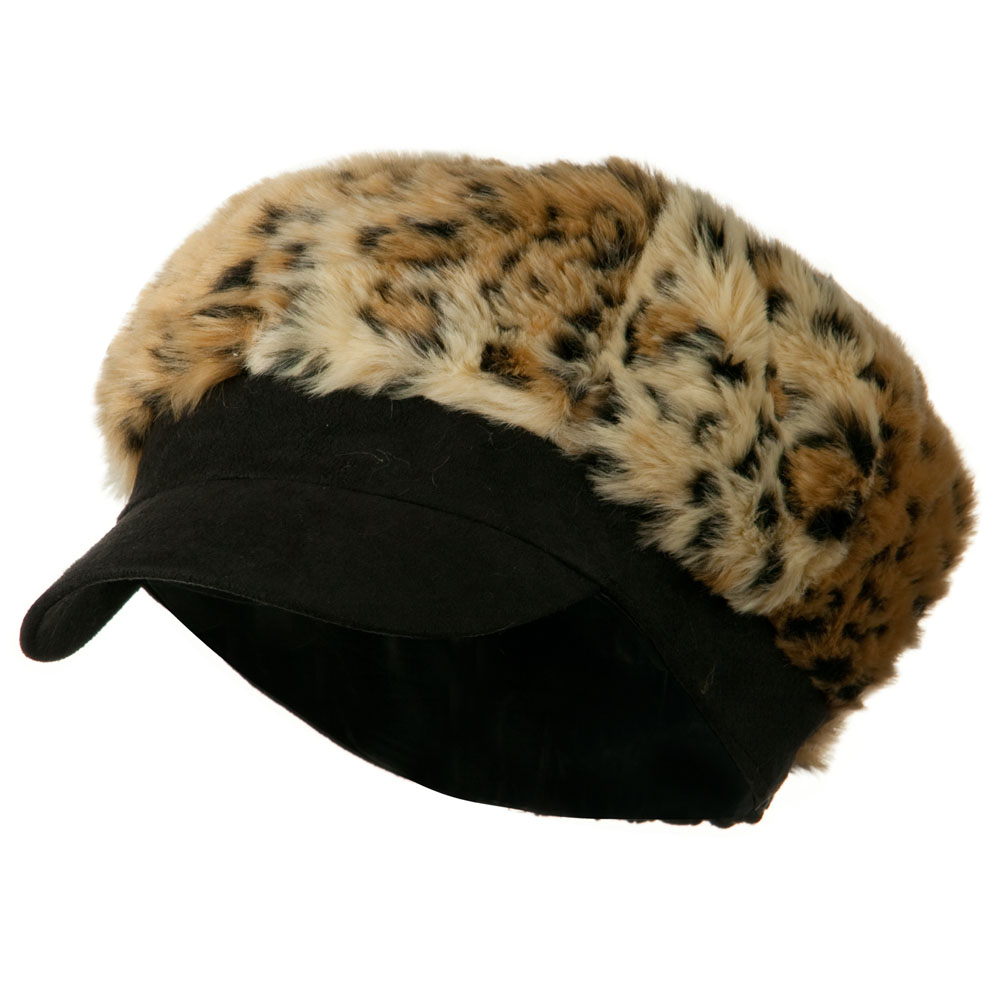 Animal Print Fur Newsboy and Scarf Set - Black Cheetah - Hats and Caps Online Shop - Hip Head Gear