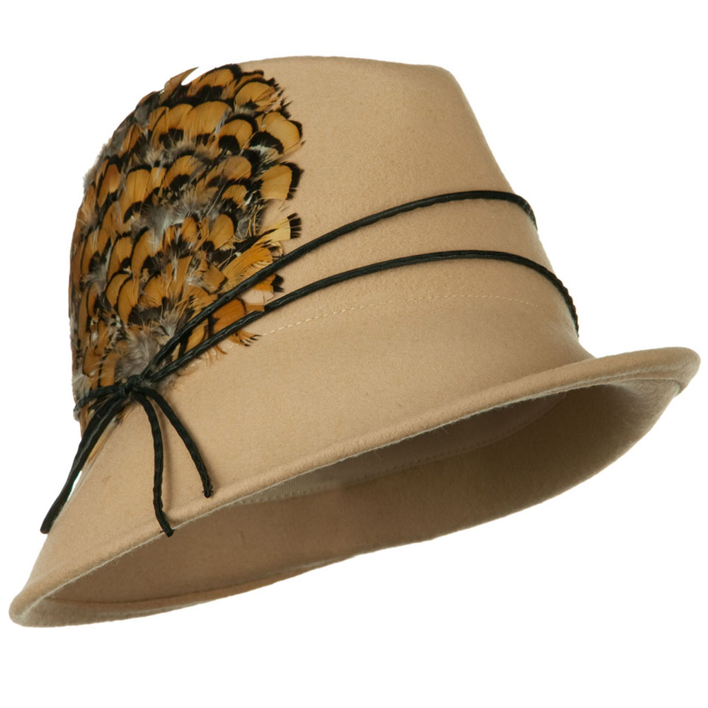 Feather and String Band Wool Felt Fedora Hat - Camel - Hats and Caps Online Shop - Hip Head Gear